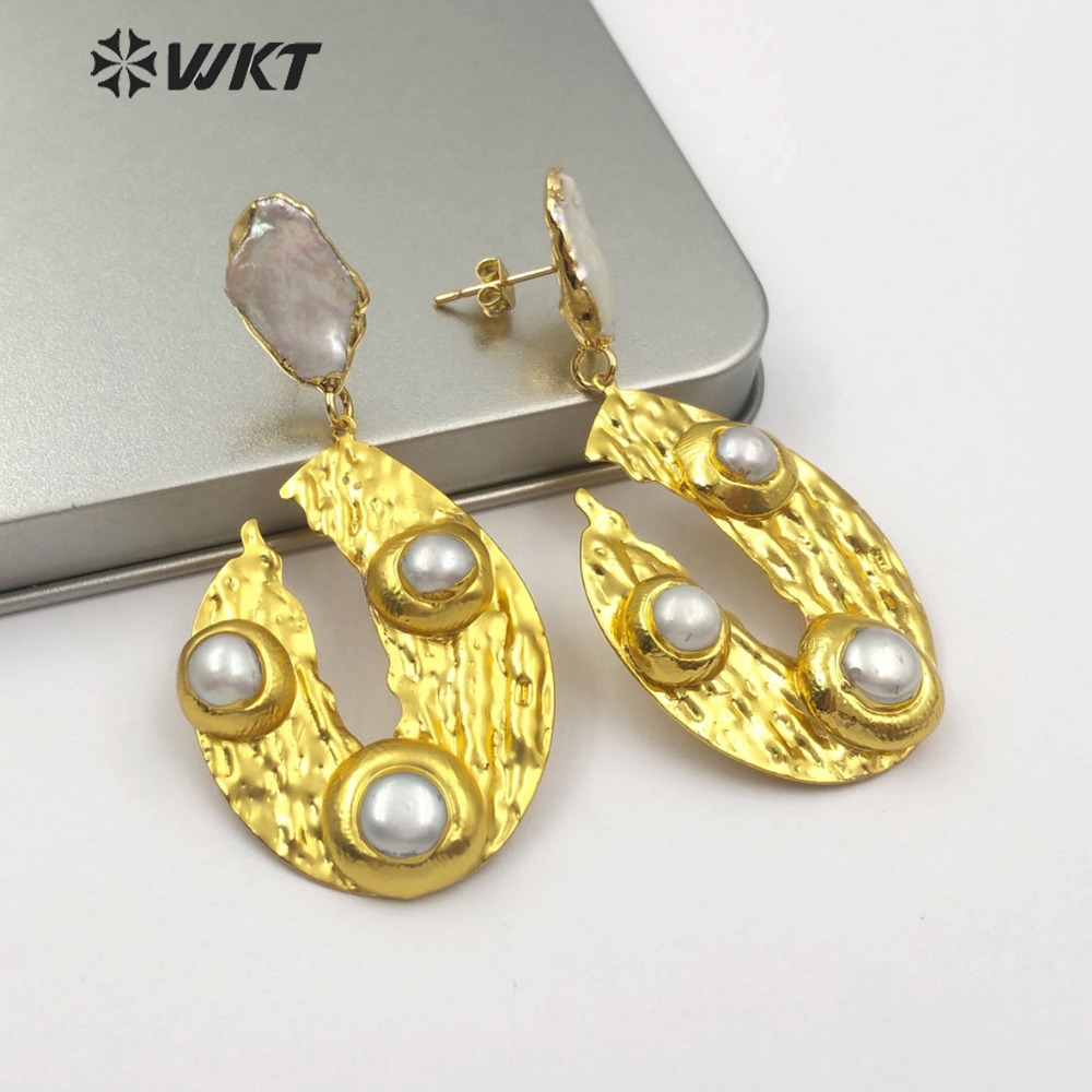 WT E495 Gold Dipped Natural Freshwater Pearl Double Tiny Round Shape Pearl Inlay Earring Delicate Classic