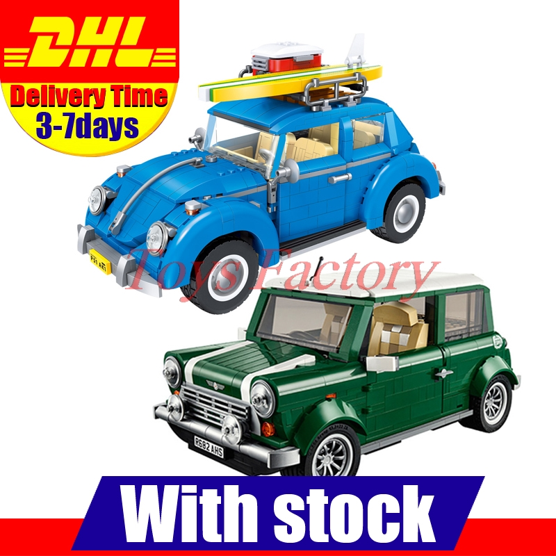 DHL LEPIN 21002 + LEPIN 21003 Beetle Building Blocks Bricks Toys Gifts Cloen 10242 10252 lepin 21003 series city car beetle model building blocks blue technic children lepins toys gift clone 10252