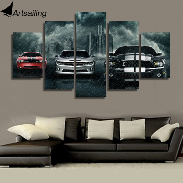 Canvas Art Printed Muscle Cars Planet Painting Canvas Print Room