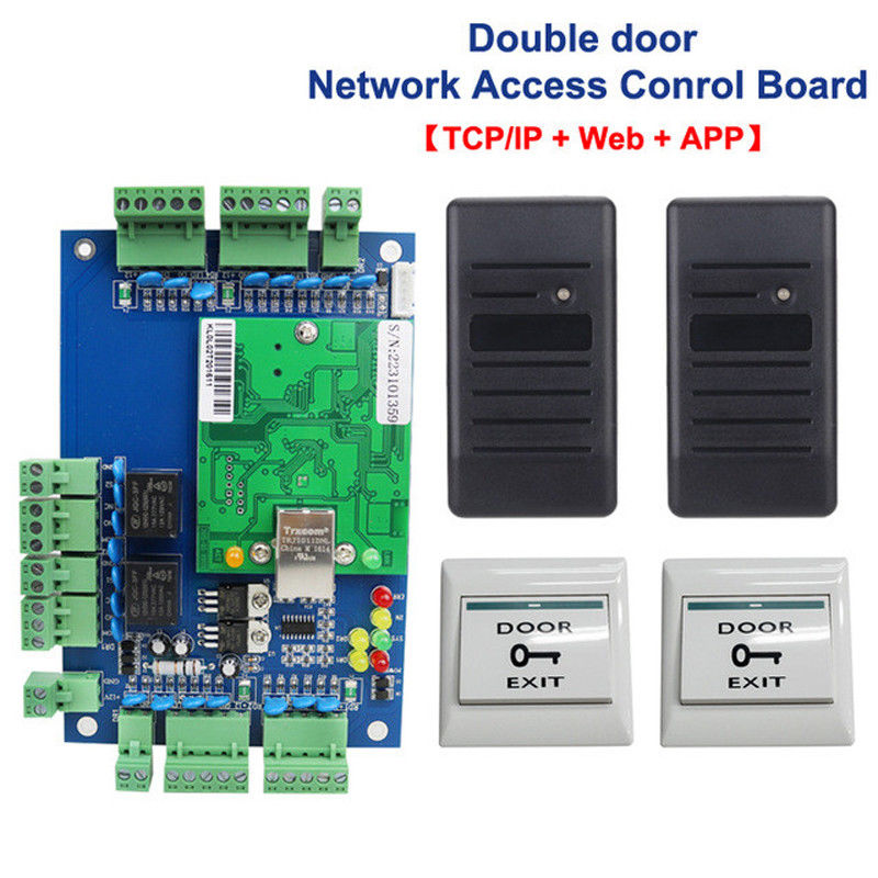 2 door Access Control With Web Access + 2pcs RFID Card Reader + 2pcs Exit button 2 Door Access Control Board outdoor mf 13 56mhz weigand 26 door access control rfid card reader with two led lights