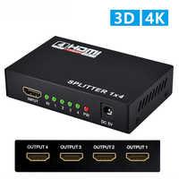 Conmutador HDMI 1X4 1 en 4 salida HDMI divisor amplificador 1X2 1 en 2 soporte HDCP 1080P 4 K/2 K 3D para HDTV DVD PS4 Xbox