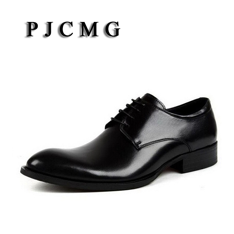 PJCMG New Fashion Black/Red/Brown Handmade Genuine Leather Lace-Up Pointed Toe Business Dress Men Oxford Office Shoes british fashion men business office formal dress breathable genuine leather shoes lace up oxford shoe pointed toe teenage sapato