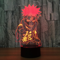 Naruto Hokage Naruto Uzumaki Ninja 3D night Light Creative Illusion 3D Lamp LED 7 Color Changing USB Touch Desk Lamp for Kid Toy