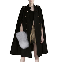 2019 Women military style Batwing Double breasted woolen Coat Jacket Cape Wool Poncho Cloak