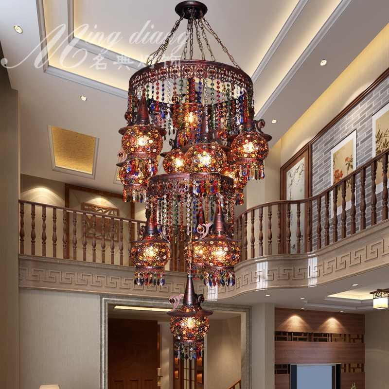 Турецкий Богемия Средиземноморский ресторан спальня лампа ретро многоцветный Бронзовый кованого железа подвесной светильник a237