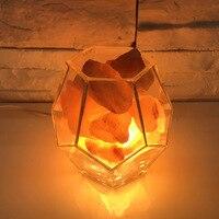 ANTINIYA NEW Creative transparent diamond geometry glass salt lamp bedroom bedside lamp dimmable LED table lamp warm romantic