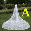 A Style 3 Meters Cathedral Wedding Veils 300*300cm Lace Appliques Edge Bridal Veil Wedding Accessories Bride Wedding Veil