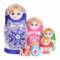 7pcs/Set Wooden Russian Nesting Dolls Dried Basswood Traditional Authentic Handmade Matryoshka Doll Kids Gift YH-17