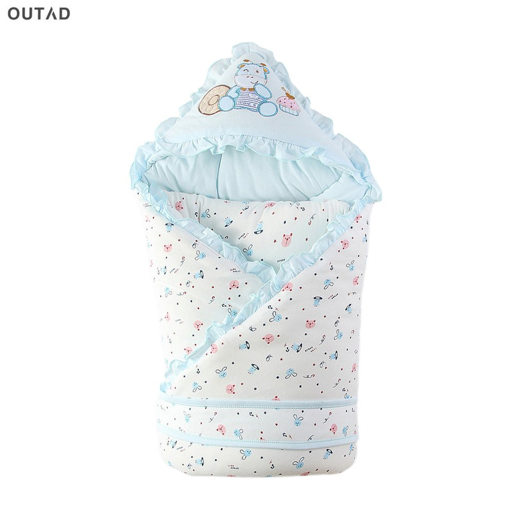 OUTAD 90*90cm Baby Sleeping Bag Baby Infant Swaddle Wrap Winter Envelope Cotton for Newborn Pure Cotton Cute Baby Blanket Hot boy girl infant wrap envelop for newborns sleeping bag pure cotton printed with fawn patterns thicken in autum winter or sprin