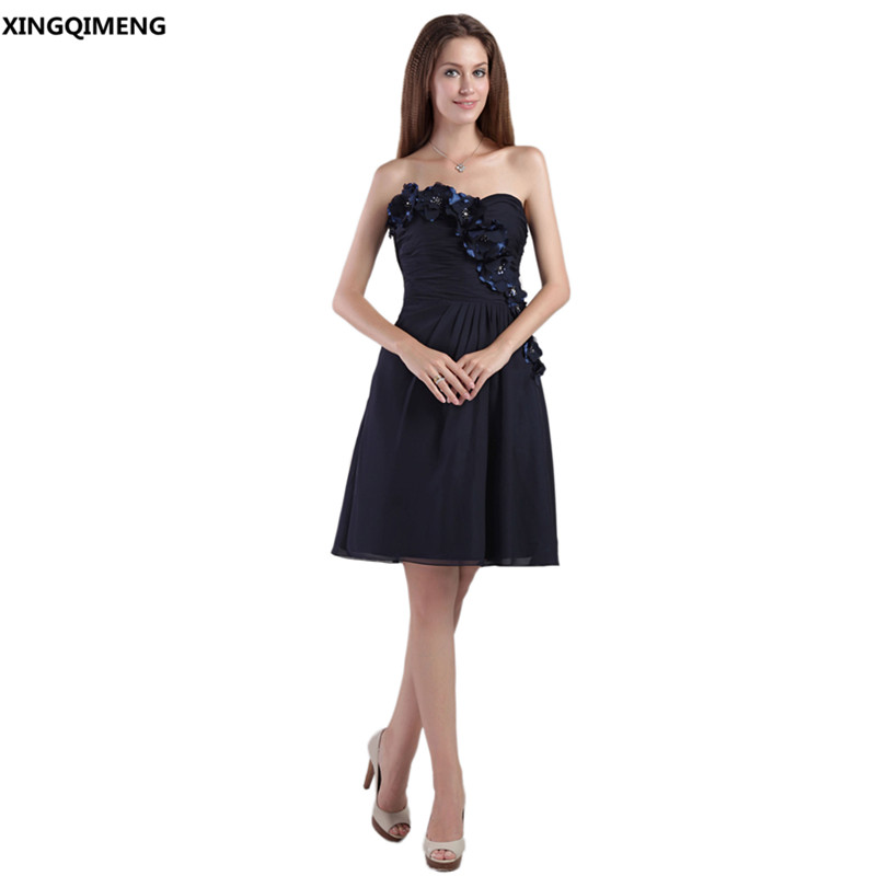 Black Cocktail Dresses Elegant Cheap Simple Strapless Cocktail Dress