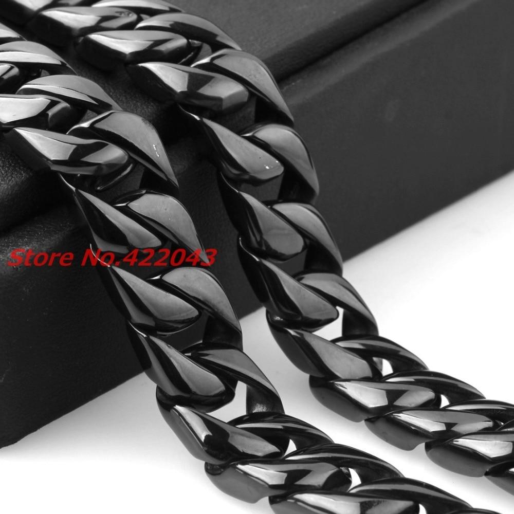 24 15 MM Heavy Cool Zwart Kleur 316L Rvs Mens Curb Cubaanse Collier, Mode sieraden Voor Mens Jongens 203g Keten - 4