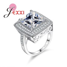 JEXXI Fashion Exaggerated CZ Diamond Engagement Rings 925 Sterling Silver Cubic Zircon Wedding Jewelry Finger Ring Women Men