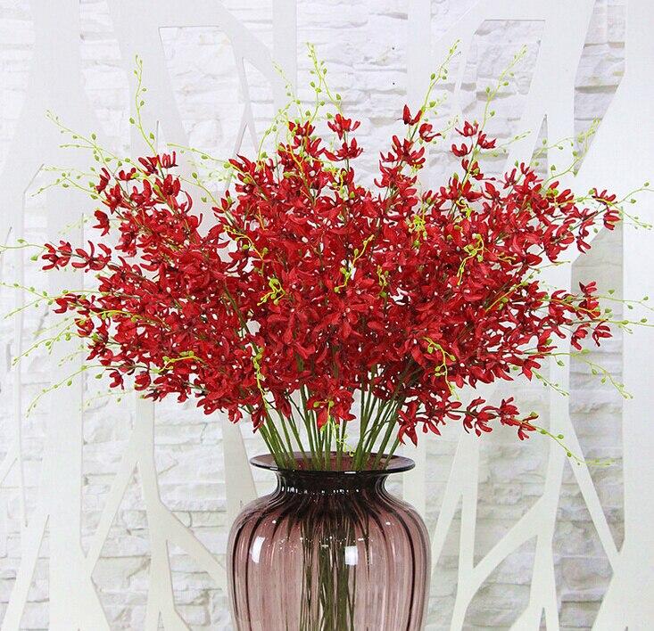 15 unids / lote tallo largo rojo dama flor orquídea flores - Para fiestas y celebraciones - foto 1