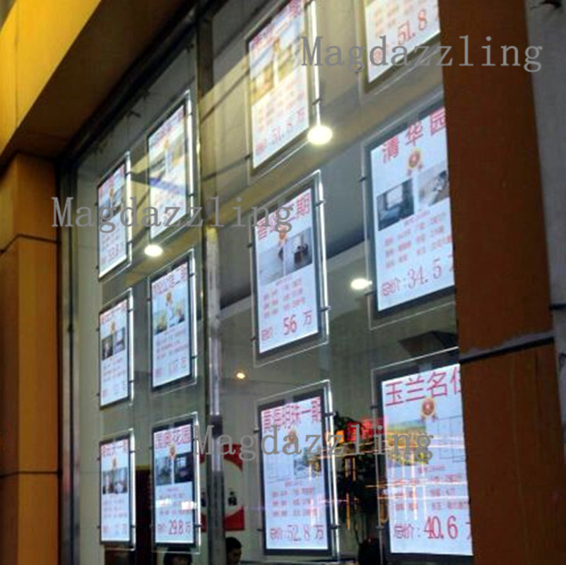 Vertical A3 Two Sides LED Window Display Illuminated Acrylic Poster ...