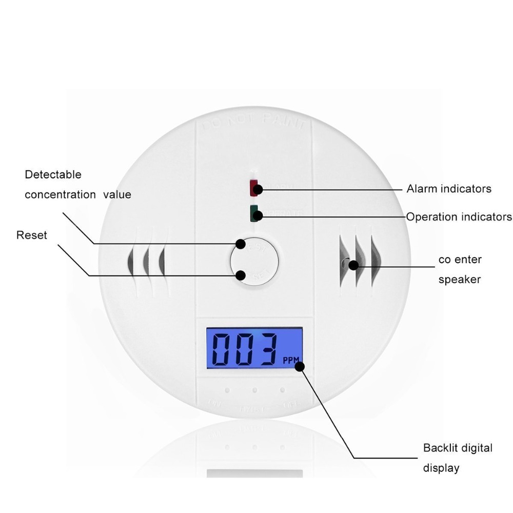LCD CO Sensor Work alone Built-in 85dB siren sound Independent Gas Carbon Monoxide Poisoning Warning Alarm Detector