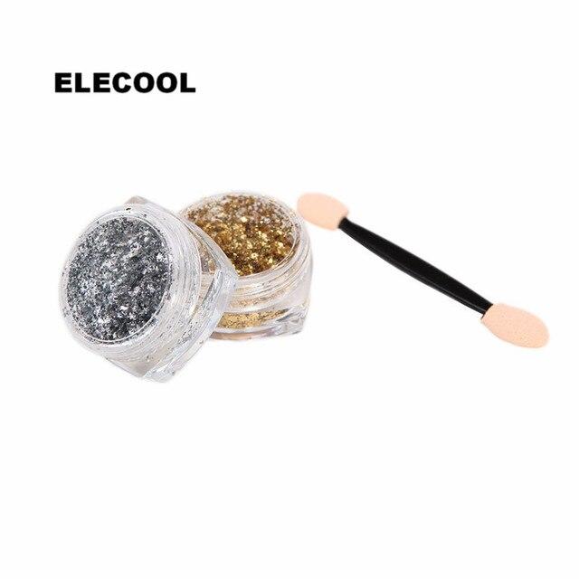 Electriol nuevo espejo de oro plateado Glitters Polvo de pigmento de uñas copos pegatinas de Arte de uñas puntas calcomanías DIY decoración de uñas