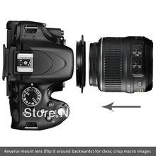 100% de Garantia 58MM Filtro Lens Tópico/Macro Anel Reverso Camera Adaptador de Montagem para Nikon SLR