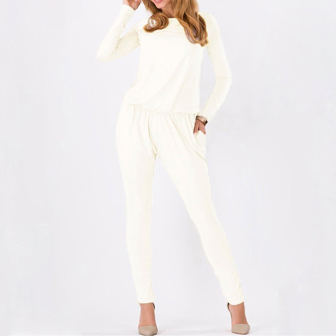 BFYL Women Jumpsuits Rompers Long Sleeve Side Pockets Elastic Waist Rompers White L