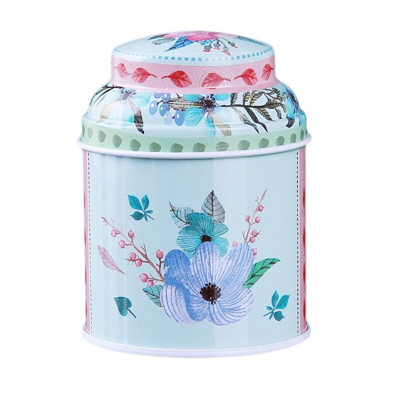 Кухонный домашний декор, металлический Цветочный кофе, чай, сахар, контейнер для конфет, банка, жестяная коробка для сортировки, аксессуары для дома - Цвет: blue
