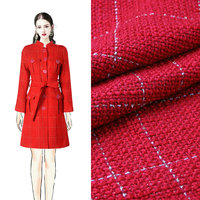 Cor do ouro verificado tecido fio, natal vermelho trançado tecido grosso, mulheres casaco de tweed inverno DIY tissu, lã quente au tissu metro