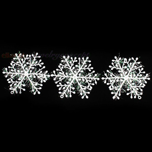 180pcs/lot 10x11cm New Arrival White Plastic Snowflake Christmas Ornaments For Christmas Tree Or Indoor Decoration 260048