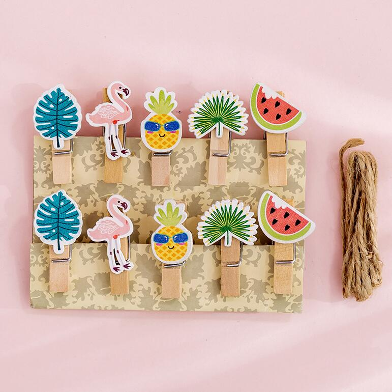 10 Pcs/pack Fruit Flamingo Wooden Clip Photo Craft DIY Decoration Notes Letter Paper Clip With Hemp Rope Office School Supplies
