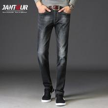 Фотография jantour 2017 Men winter basic style casual Jeans thick jean hot sale Original straight leg Ash black Men Class jeans Plus Size40