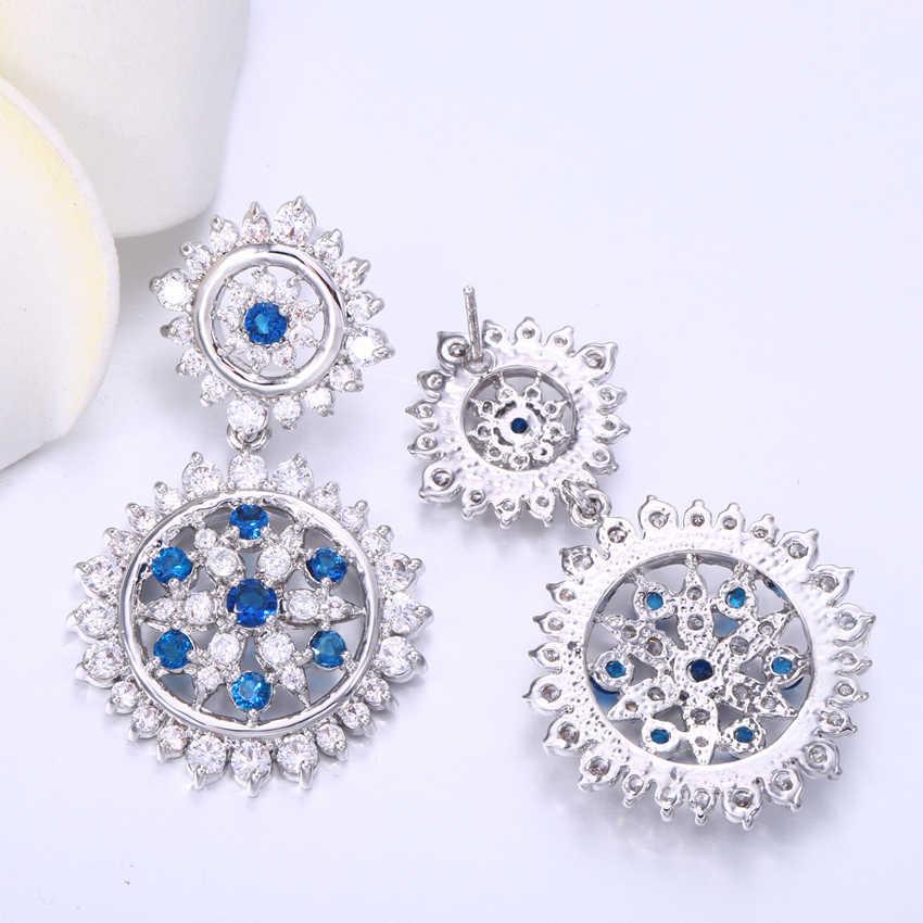 ee9463f52 ... ZHE FAN Blue Green Luxury Stars Flower Drop Earrings For Women AAA  Cubic Zirconia Fashion Earring ...