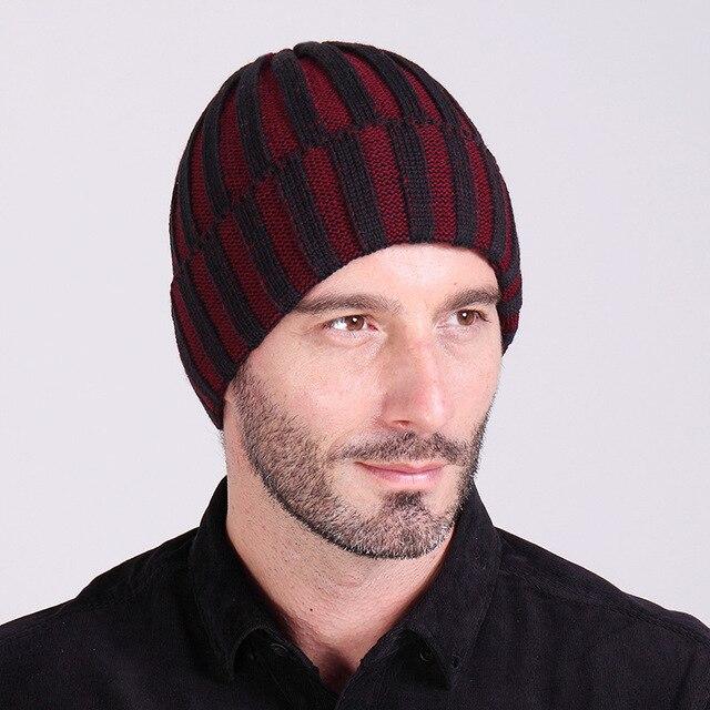 Nuevo 2019 raya vertical de lana de los hombres sombreros cálido otoño e  invierno de punto 98b0c01df8f