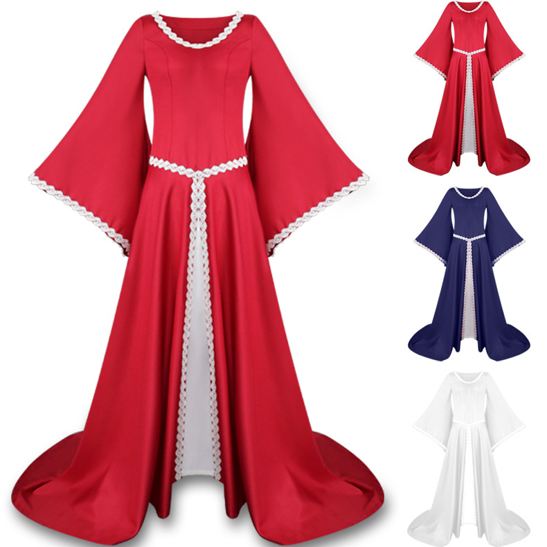 Women Medieval Renaissance Dress Gothic Victorian V Collar Long Sleeves Floor Length Dress Halloween Party Cosplay Costume
