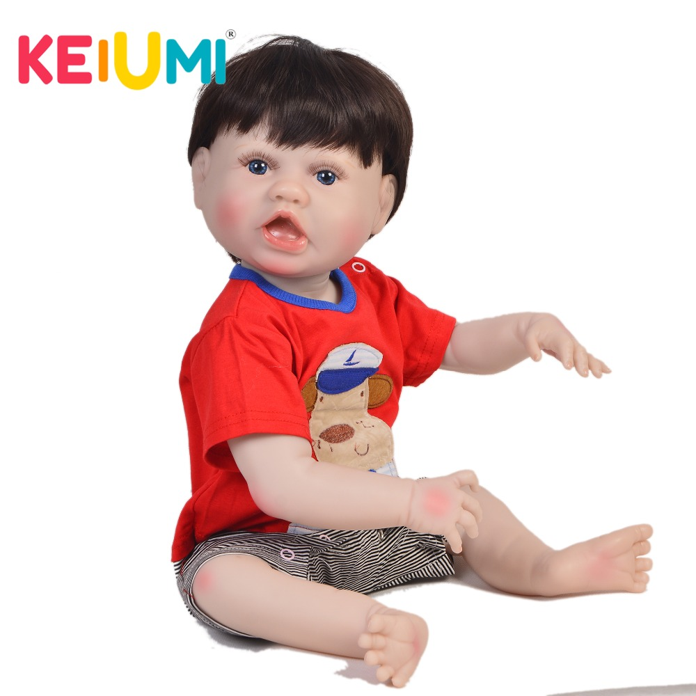 Collectible 23'' 57 cm Reborn Baby Boy Doll Whole Silicone Body Realistic Lifelike Baby Doll Toy For Kid Birthday Christmas Gift pursue 22 56 cm big smile face reborn boy toddler baby doll cotton body vinyl silicone baby boy doll for children birthday gift