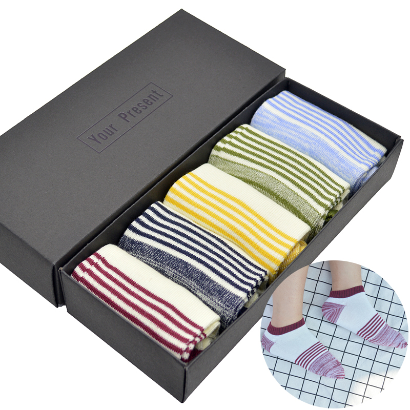 5 Pair/set Patchwork Striped Cotton Men Short Casual Socks Retro Mens Summer Short Ankle Socks with Gift Box