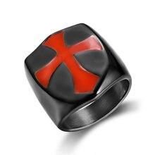 ЧЕРНЫЙ тамплиеров Броня crusader cross Кольца для Для мужчин