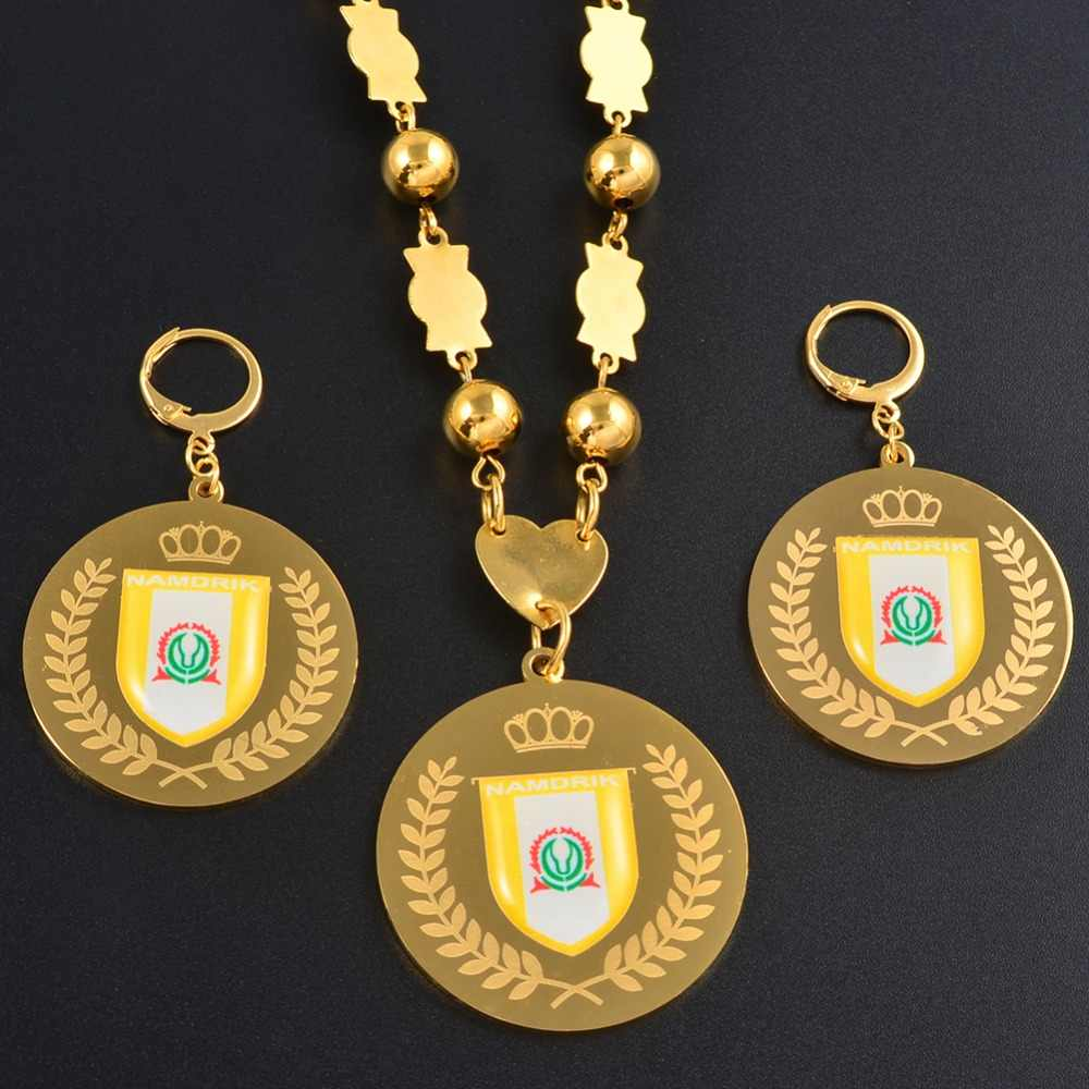 Anniyo Namdrik flag Jewelry sets Pendant Big Earrings Round Ball Beads Chain Necklaces Jewellery Gifts #071821
