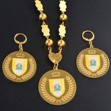 Anniyo Namdrik flag Jewelry sets Pendant Big Earrings Round Ball Beads Chain Necklaces Jewellery Gifts #071821(China)