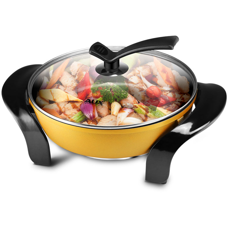 220V AUX Multifunctional 4.5L Electric Cooker Non-stick Household Electric Hot Pot Frying Pot Machine 3 Gear Fire Control dmwd electric pressure cooker 5l smart intelligent rice cooker household 0 24 hours non stick soup stew pot keep warm 220v eu us