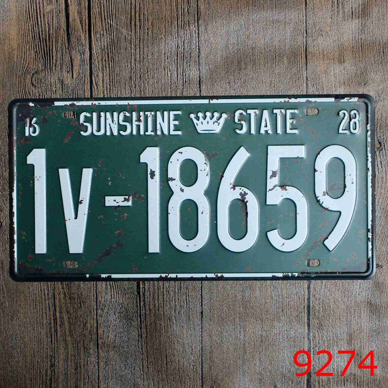 Car number  SUNSHINE STATE 1V-18659  License Plates plate Vintage Metal tin sign Wall art craft painting 15x30cm