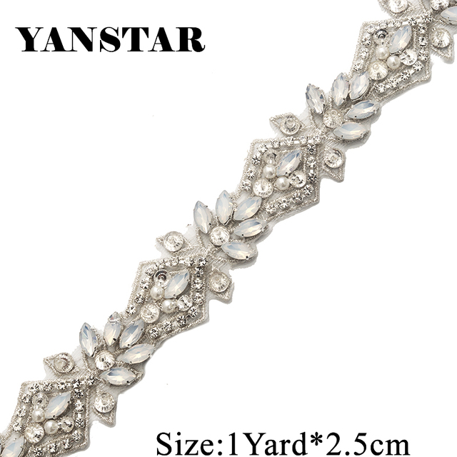YANSTAR 1 Yard Handmade Opal Rhienstone Applique Rose gold Bridal Belt Trim  Iron On Wedding Dress 4eca90542918