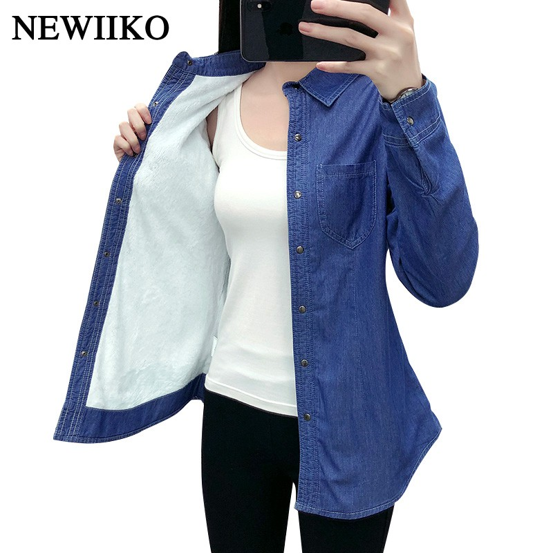 New Autumn winter women cotton flannel Warm thickening pocket long sleeve   blouse   Denim   shirt   casual flannel tops plus size