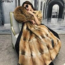 OFTBUY Chaqueta de invierno Parka impermeable para mujer, abrigo de piel auténtica, Cuello de piel de mapache Natural, capucha de visón, forro de piel desmontable, ropa de calle