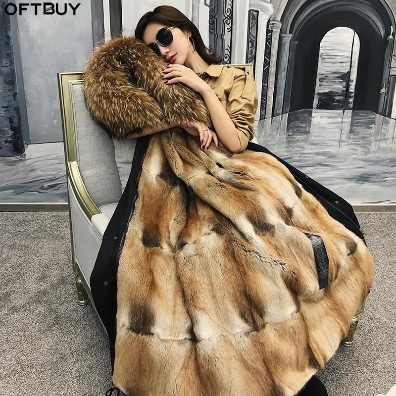 OFTBUY Waterproof Parka Winter Jacket Women Real Fur Coat Natural Raccoon Fur Collar Hood Mink Fur Liner Detachable Streetwear