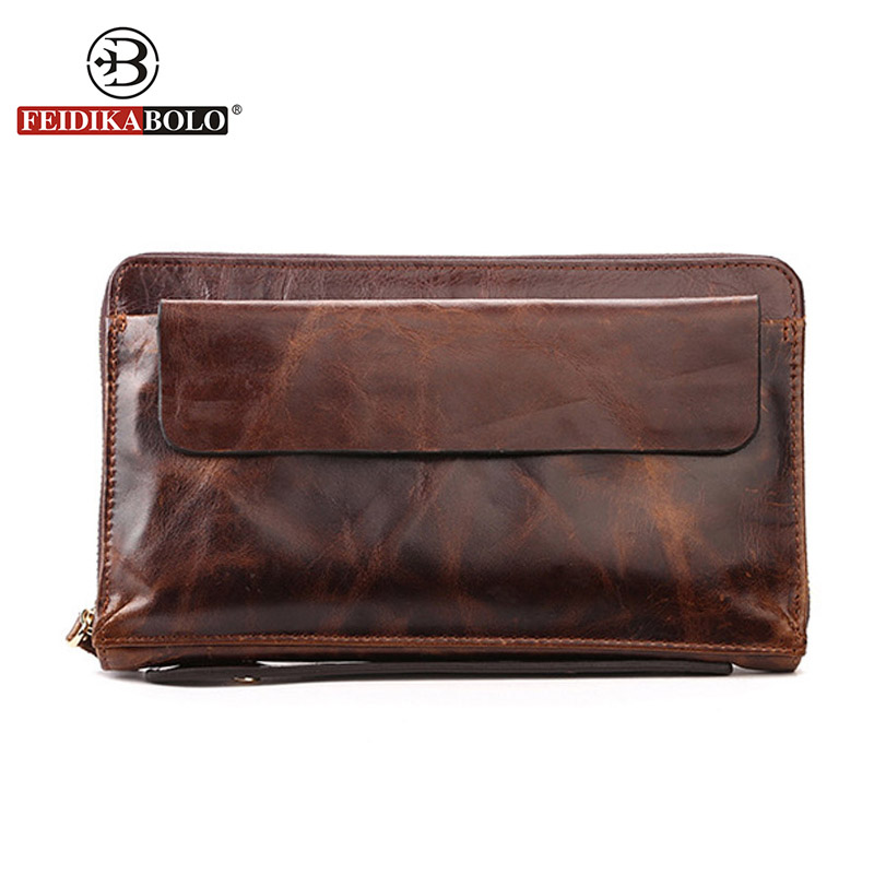 Luxury Genuine Leather Men Wallet Clutch Bags Purse Men Wallets Famous Brand Handy Bag Mens Wallet Leather Genuine Men's Purses brand design men luxury individuality vintage long wallet skull style genuine cow leather purse men s clutch handy phone bags