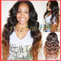 Top quality glueless full lace wig virgin hair Brazilian hair two tone color #1b/#30 Ombre human hair wig for black women