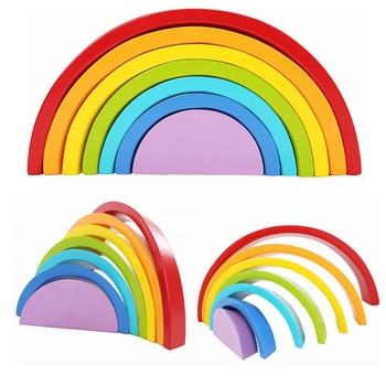 Aprendizaje Bloques Juguetes Círculo Temprano Construcción Niños Arco Iris Madera 7 Colores Piezas De I2E9DH