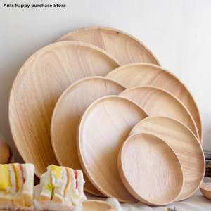 Round style fruit Snacks tea tray storage wood plates