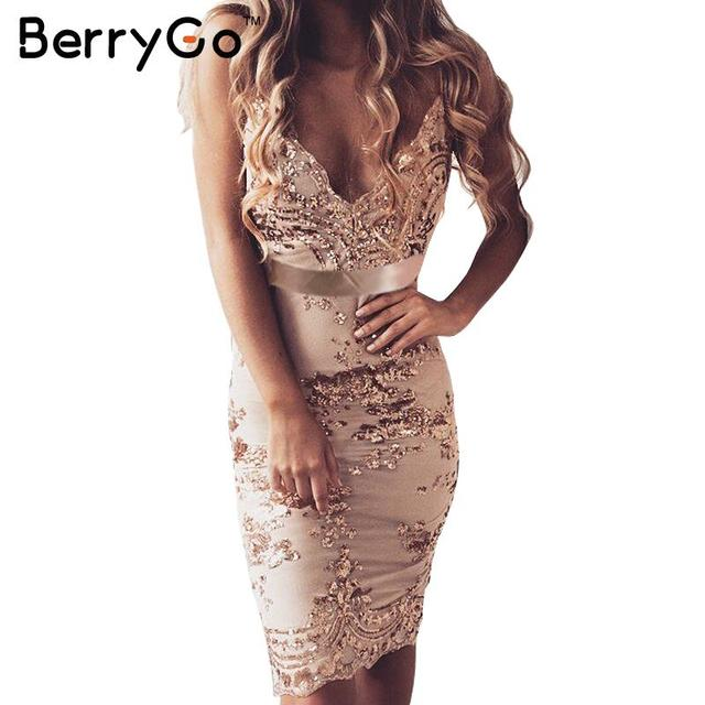BerryGo Elegant sequin evening party dress Women sexy deep v neck bodycon dress short christmas dress mesh beach summer vestidos
