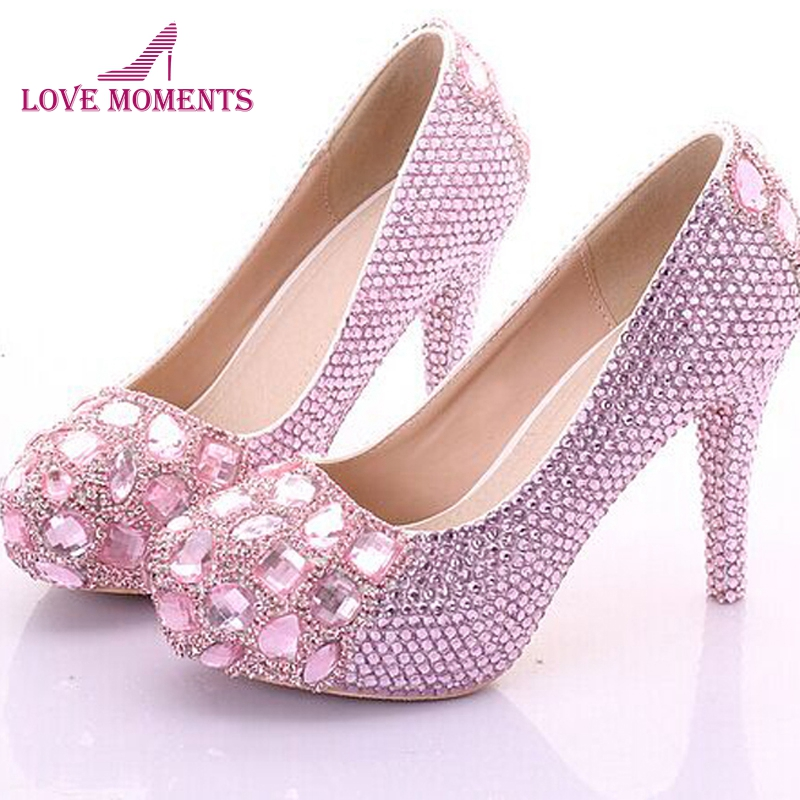 Sexy Luxury Rhinestone Princess Wedding Shoes For Woman High heel Pink Candy Color Pumps Woman Shoes Sweet Girl Birthday Shoes босоножки sweet shoes sweet shoes sw010awtbr38