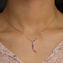 thin skinny 925 sterlilng silver crescent moon colorful cubic zirconia cz cute moon lovely girl gift rose gold color necklace(China)