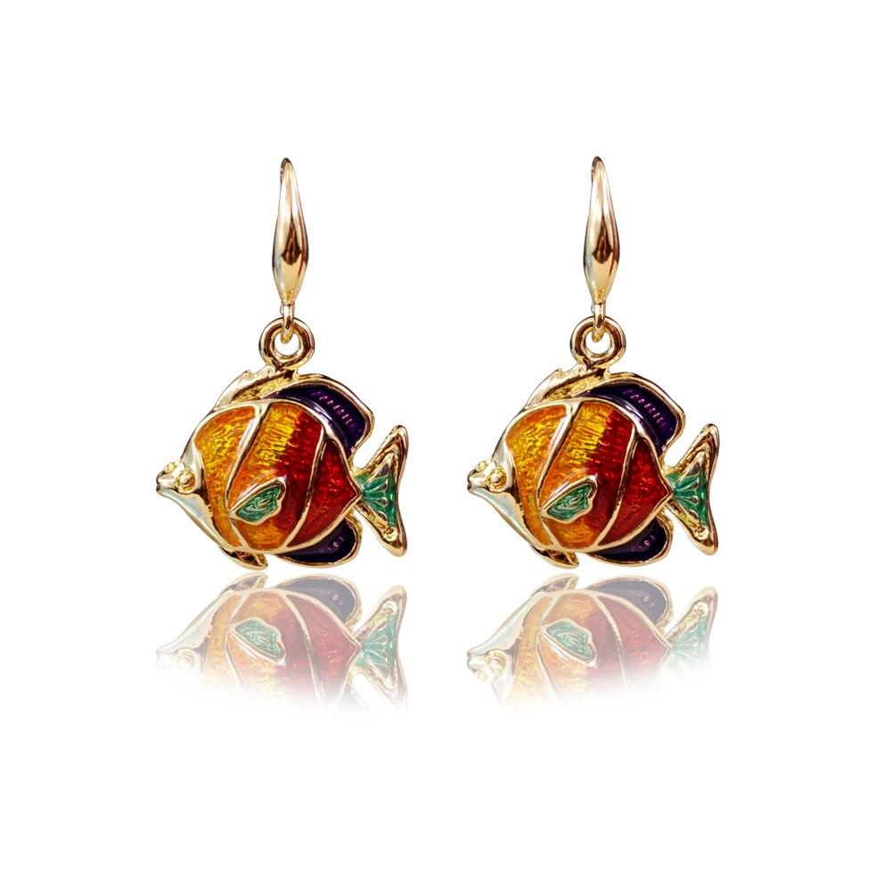 Sealife collection jewelry goldfish earrings enamel gold fish hook drop earrings holiday earrings for summer seaside