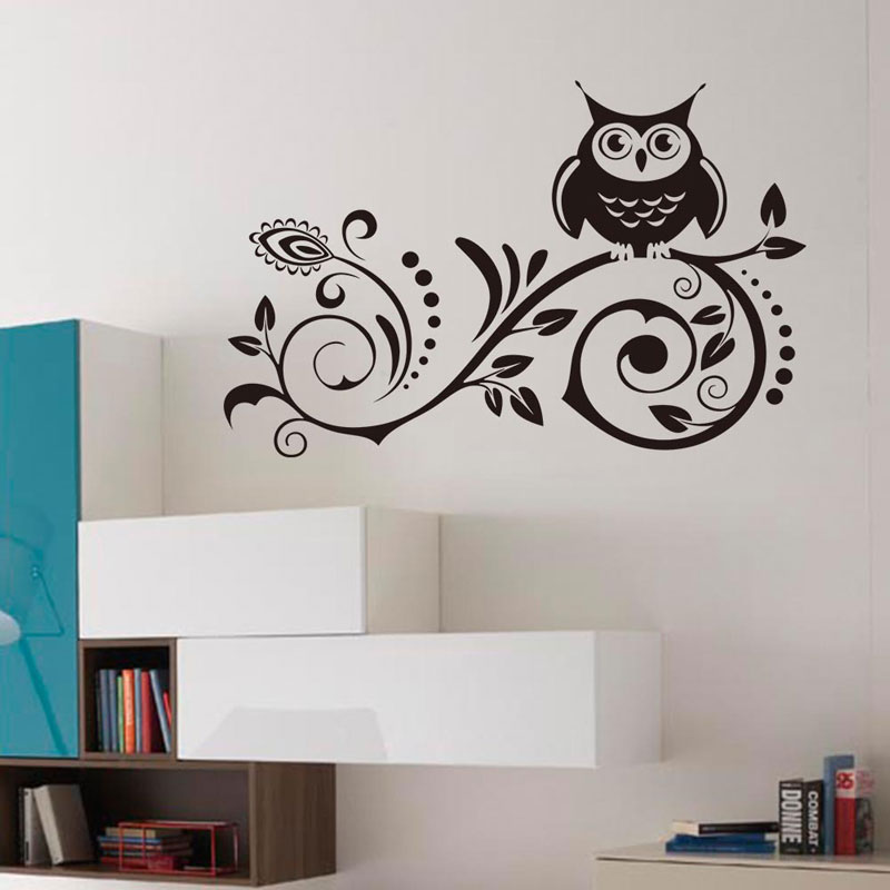 Owl carved flower vine sticker Waterproof Living room bedroom background home decor pvc Generation wall stickers